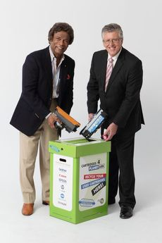 Kamahl and Tim Webster celebrate 10 years of cartridge recycling © Janet Sparrow