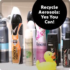 Aerosol can recycling tile