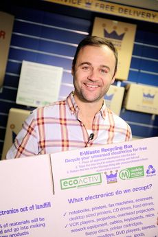 Actor Gyton Grantley promoting the new e-waste recycling box