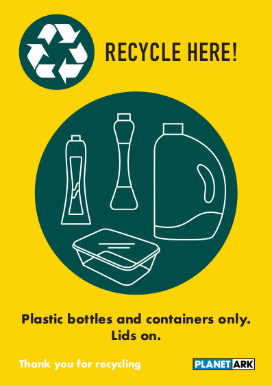 Plastic bottles and containers lids on